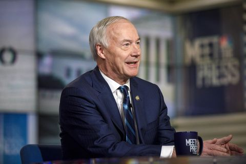 meet the press    pictured l r   governor asa hutchinson r ak appears on