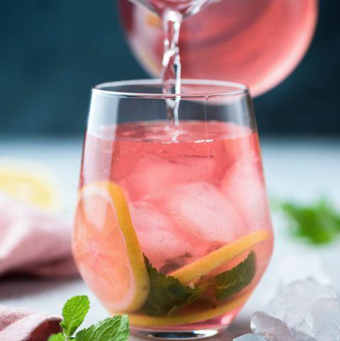 Hibiscus ice tea in glass