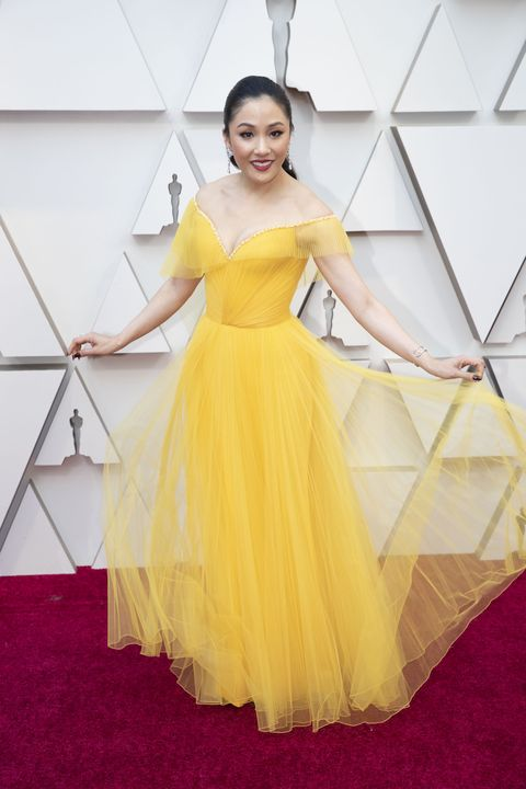 Constance Wu in yellow Atelier Versace dress oscars 2019