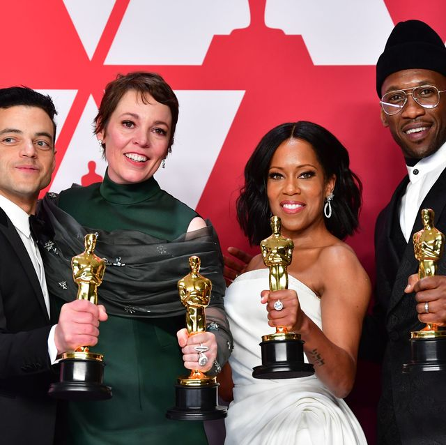 Rami Malek,  Olivia Colman,  Regina King, winner of Best Supporting Actress for 'If Beale Street Could Talk' y Mahershala Ali