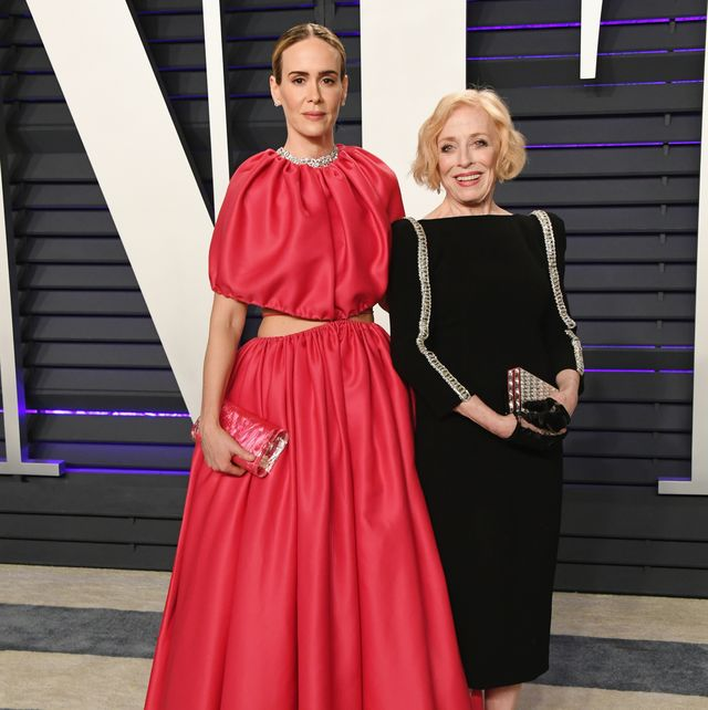 beverly hills, ca   february 24  l r sarah paulson and holland taylor attend the 2019 vanity fair oscar party hosted by radhika jones at wallis annenberg center for the performing arts on february 24, 2019 in beverly hills, california  photo by jon kopaloffwireimage