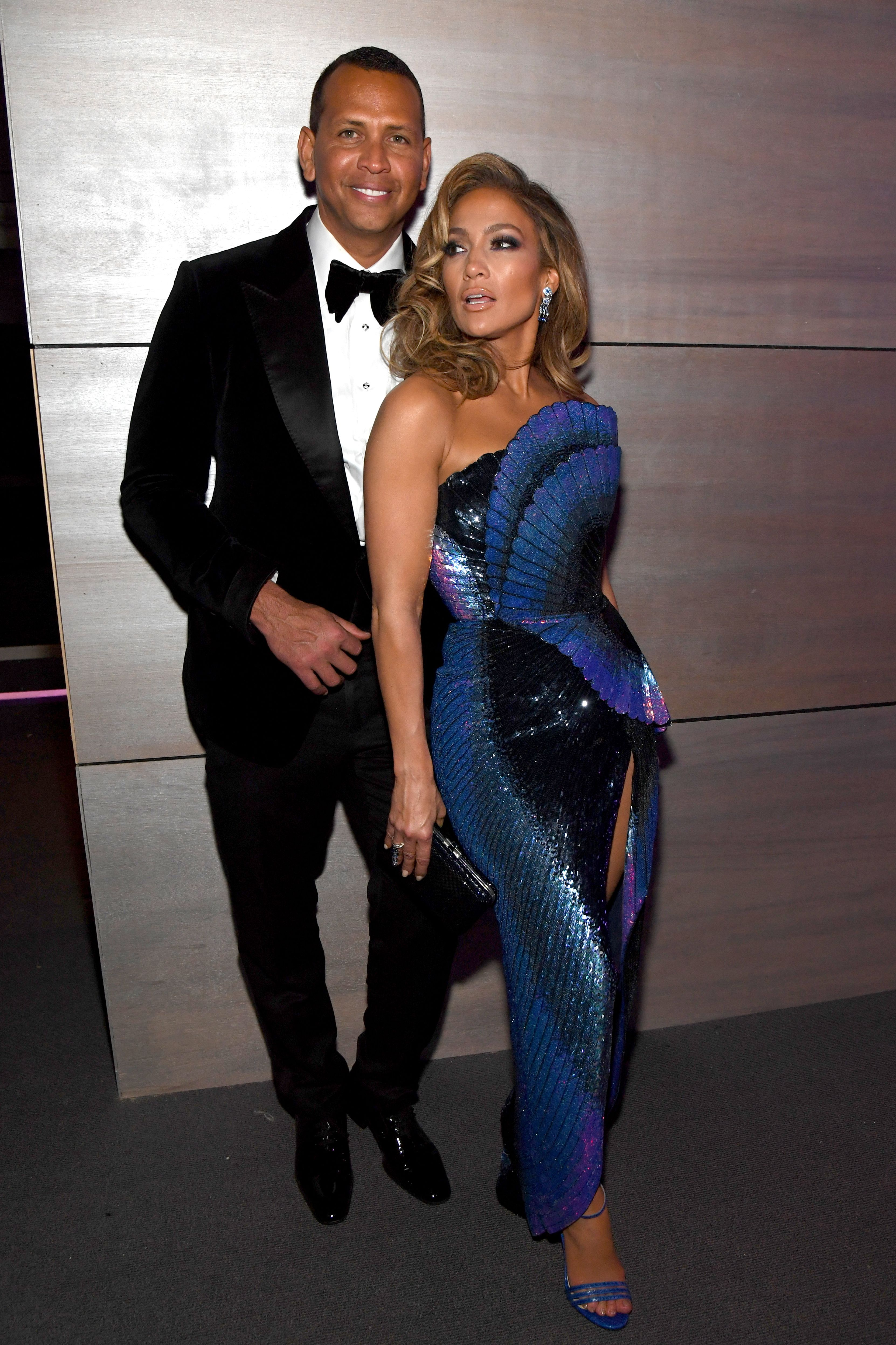 Jennifer Lopez and Alex Rodriguez at the Vanity Fair Oscars Party 2019