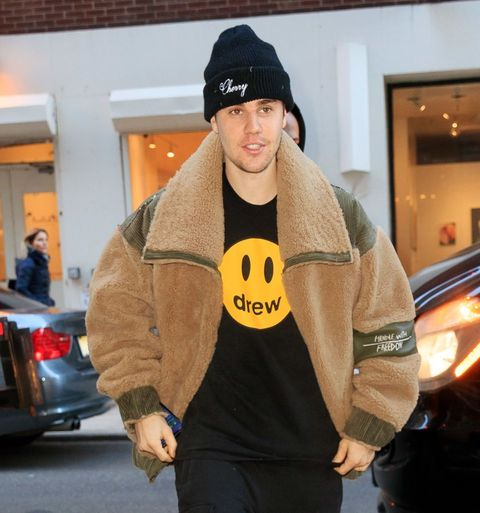new york, ny   february 26  justin bieber shows off a drew shirt when out and about on february 26, 2019 in new york city  photo by gothamgc images