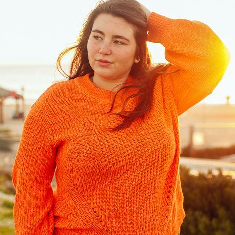 Orange, Clothing, Sweater, Yellow, Red, Wool, Beauty, Outerwear, Knitting, Fashion,