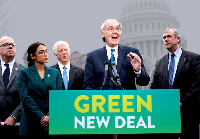 washington, dc   february 07  us sen ed markey d ma r speaks as rep alexandria ocasio cortez d ny 2nd l and other congressional democrats listen during a news conference in front of the us capitol february 7, 2019 in washington, dc sen markey and rep ocasio cortez held a news conference to unveil their green new deal resolution photo by alex wonggetty images