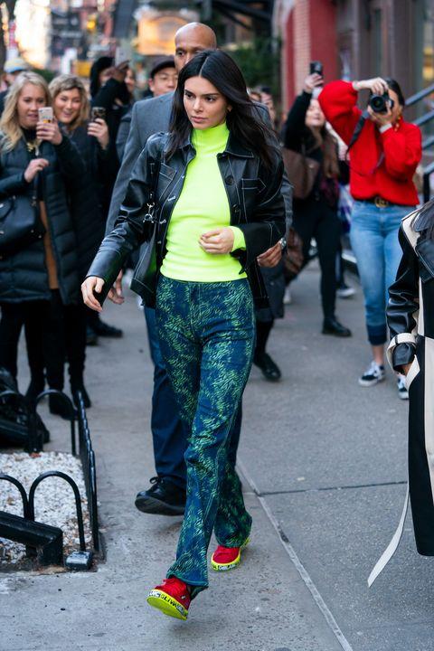 Street fashion, People, Clothing, Fashion, Jeans, Snapshot, Footwear, Street, Yellow, Jacket,