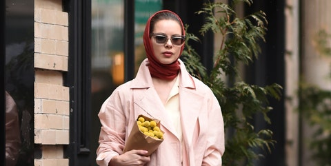 Clothing, Fashion, Street fashion, Pink, Yellow, Outerwear, Fashion model, Fashion design, Robe, Footwear,