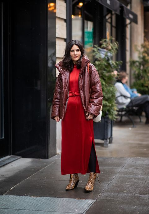 Clothing, Red, Photograph, Street fashion, Fashion, Pink, Snapshot, Coat, Outerwear, Brown,