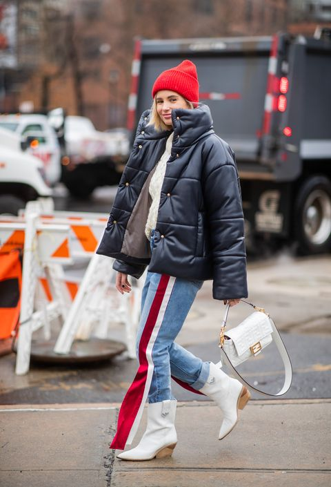 White, Street fashion, Photograph, Clothing, Beanie, Jeans, Red, Fashion, Snapshot, Beauty,