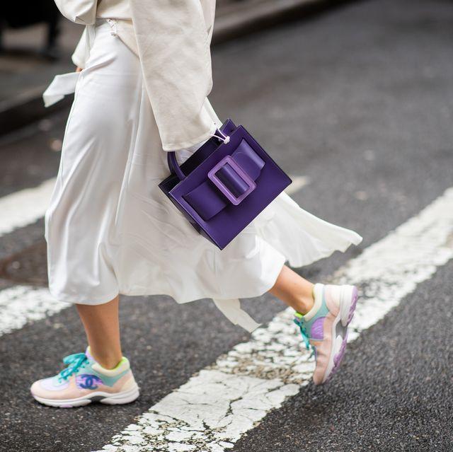 Street fashion, White, Photograph, Pink, Purple, Fashion, Snapshot, Footwear, Shoe, Leg,
