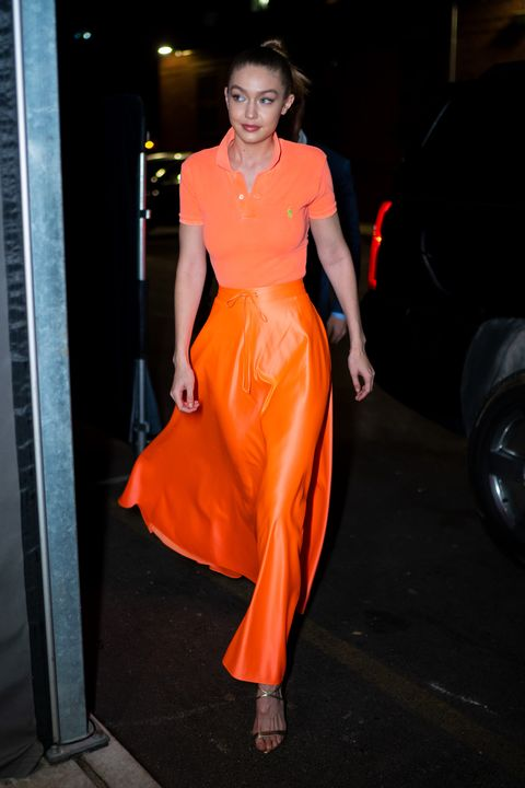 bb382c4096dbd Gigi Hadid Looks Like Sandy From Grease In All Orange Outfit As She ...