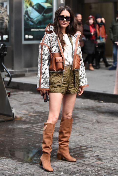 Street fashion, Clothing, Photograph, Fashion, Footwear, Snapshot, Leg, Fashion model, Brown, Eyewear,