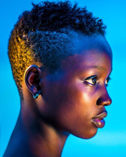 Glowing neon black girl