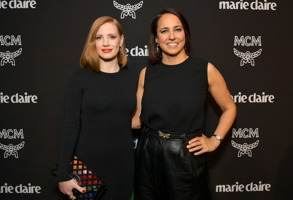Change Maker honoree Jessica Chastain and Marie Claire editor-in-chief Anne Fulenwider on the Change Makers red carpet.