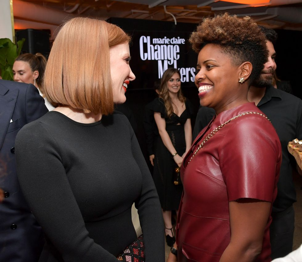 """I don't necessarily see myself as a change maker,"" Chastain, chatting here with another attendee, said. ""But it means a lot to me to be here in this group of women and to be on this cover with Ava [DuVernay] and Constance [Wu] and to be working alongside Time's Up, which is working so hard to change our society for the betterment of women."""