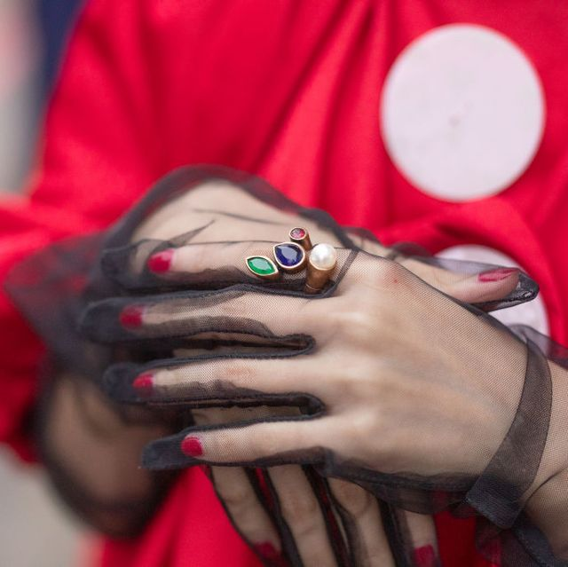 Red, Nail, Hand, Finger, Wrist, Photography, Flesh, Fashion accessory, Thumb, Gesture,