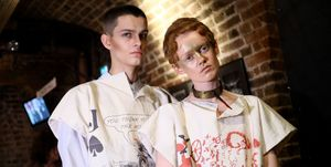 Models backstage ahead of the Vivienne Westwood show during London Fashion Week February 2019 on February 17, 2019 in London, England