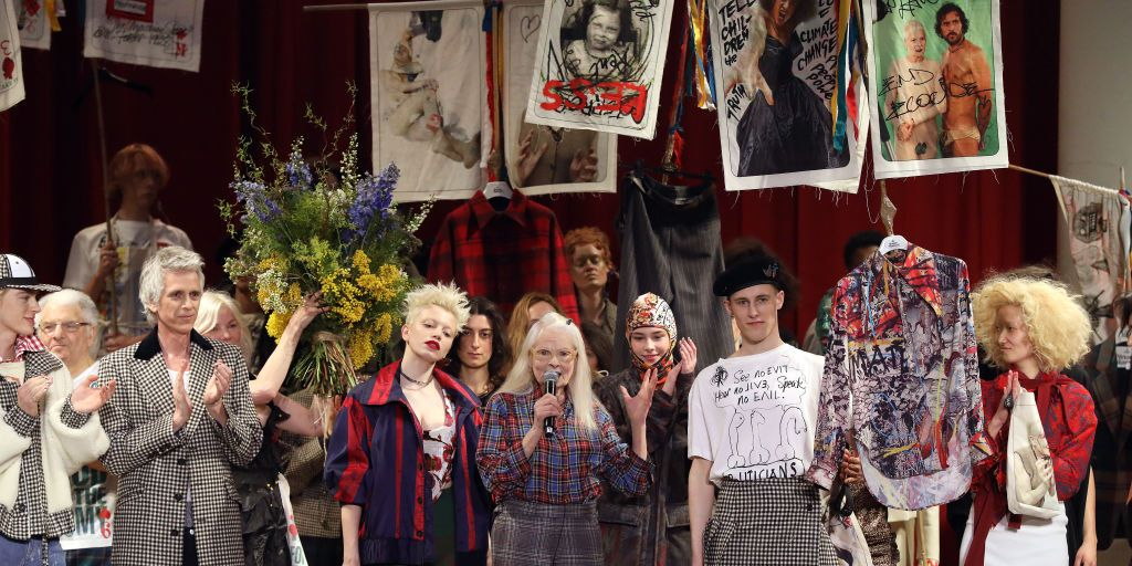 Designer Vivienne Westwood speaks during the finale runway at the Vivienne Westwood show during London Fashion Week February 2019 on February 17, 2019 in London, England.