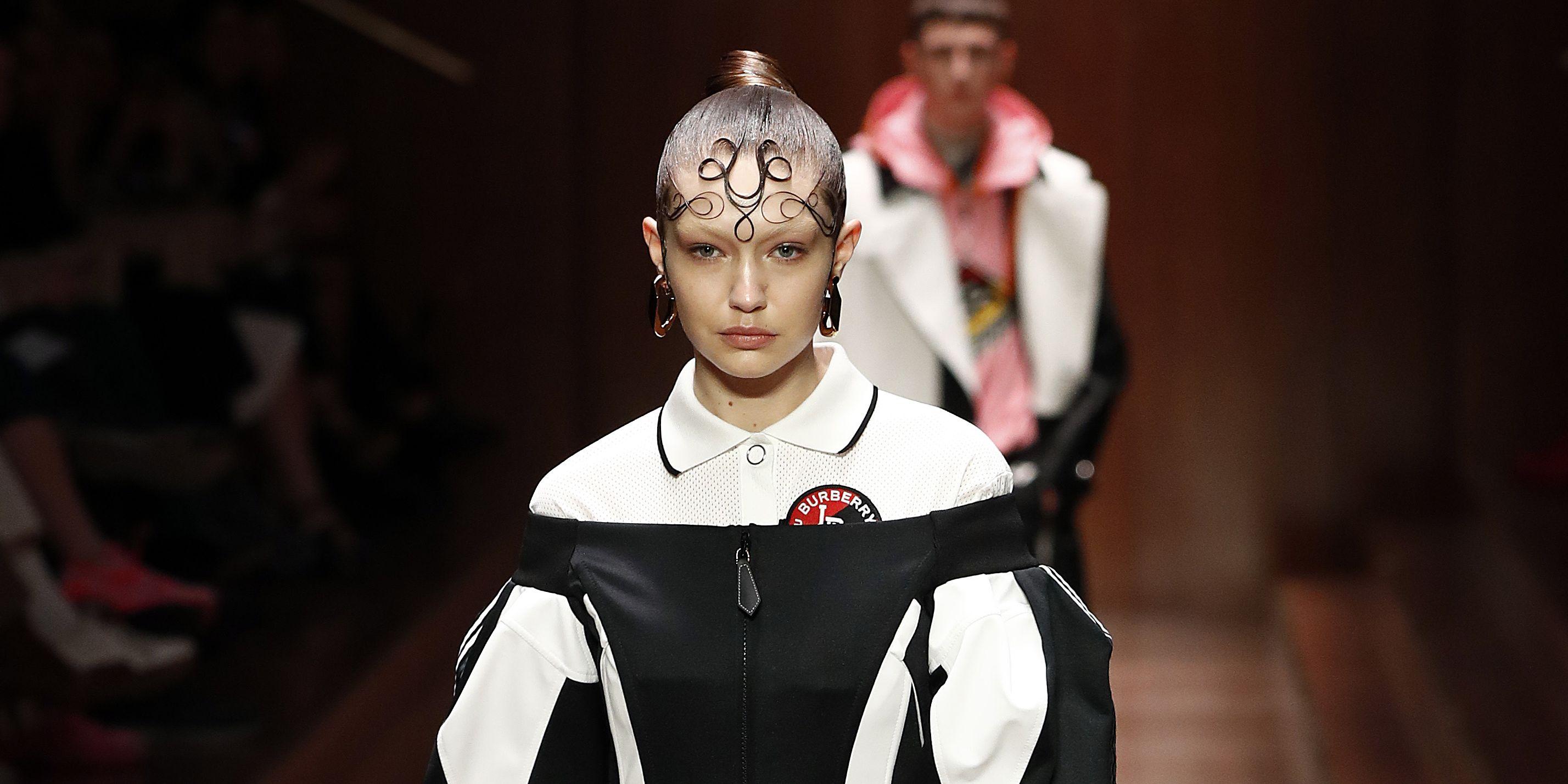 Gigi Hadid walks the Burberry show at London Style Week