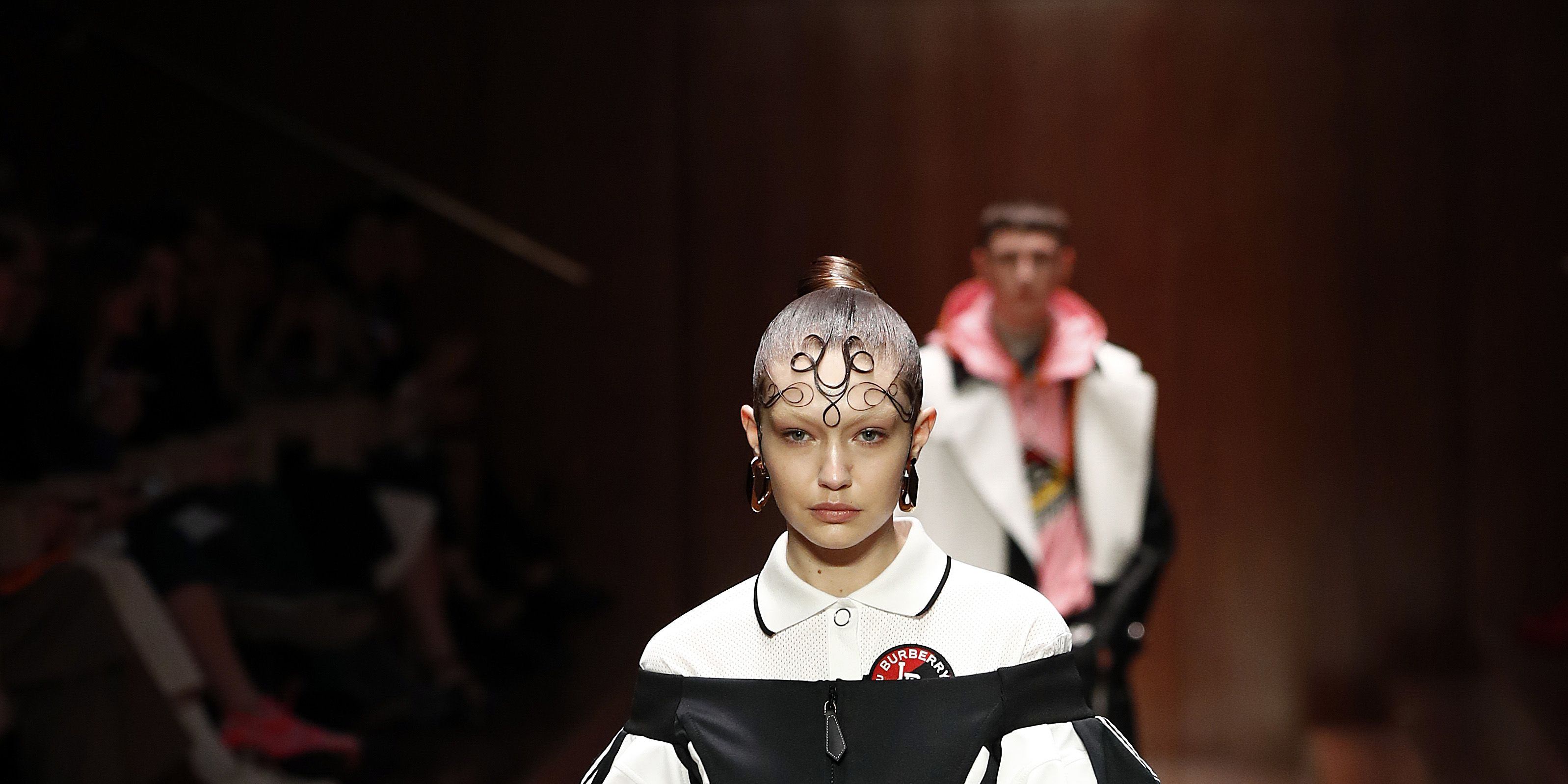 Gigi Hadid walks the Burberry show at London Fashion Week