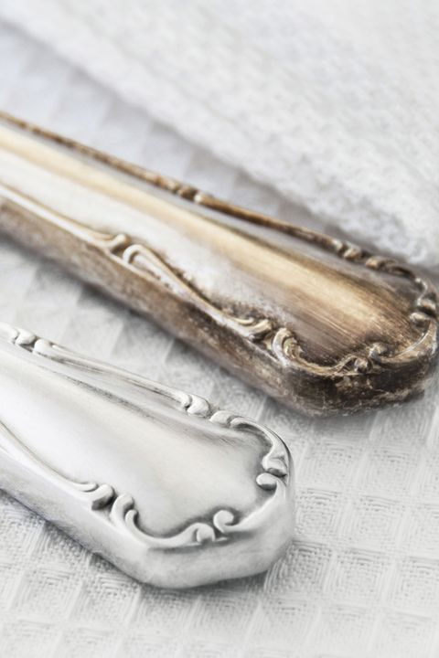 cleaning tarnished silverware comparison close up