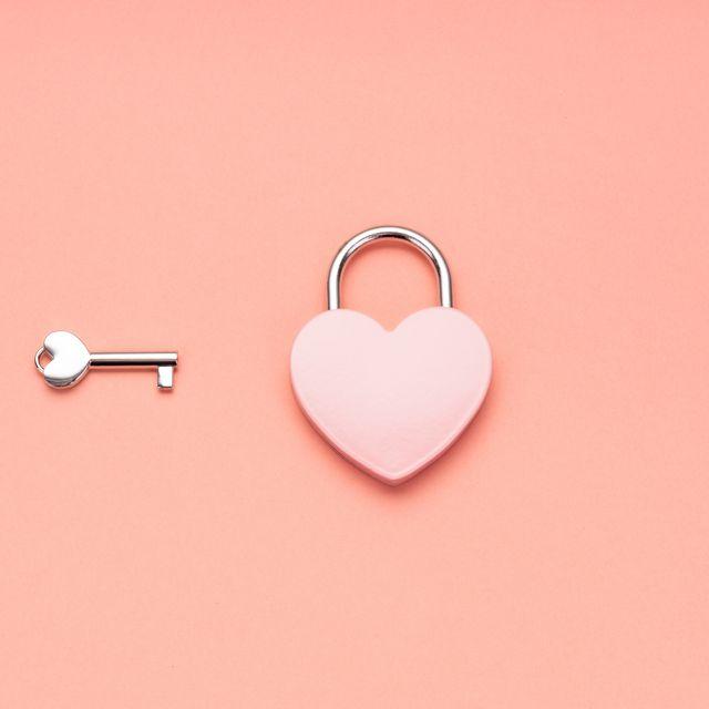 Pink Heart Shape Padlock And Key