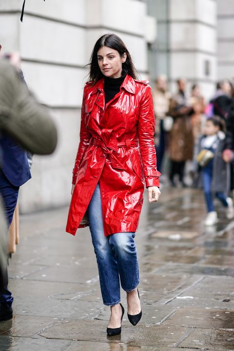 Clothing, Street fashion, Fashion, Red, Jeans, Outerwear, Pink, Fashion model, Coat, Snapshot,