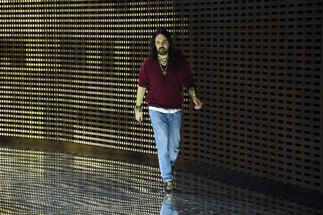milan, italy   february 20  designer alessandro michele acknowledges the applause of the audience  at the gucci show during milan fashion week autumnwinter 201920 on february 20, 2019 in milan, italy photo by tullio m pugliagetty images for gucci