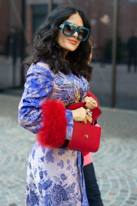 Cobalt blue, Blue, Street fashion, Clothing, Fur, Fashion, Red, Electric blue, Sunglasses, Eyewear,
