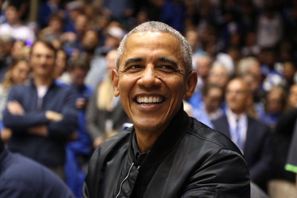 bc311031cc9b1f Barack Obama Flexed a '44' Black Bomber Jacket at Duke-UNC Last Night