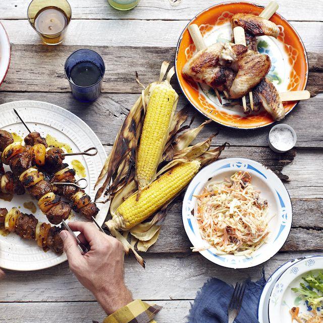south africa sosaties  lamb, curry marinade, dried apricot, grilled corn on the cobjapan tebasaki skewered chicken wings  sesame oil, sake, lemon, lettuce