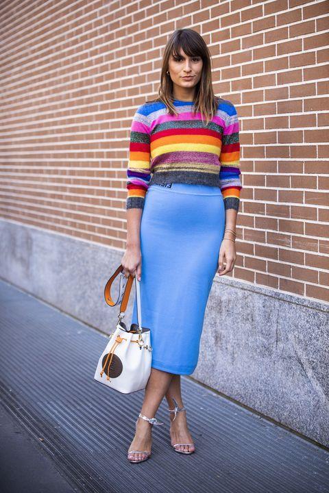 Cobalt blue, Clothing, Blue, White, Electric blue, Street fashion, Pencil skirt, Crop top, Fashion, Waist,