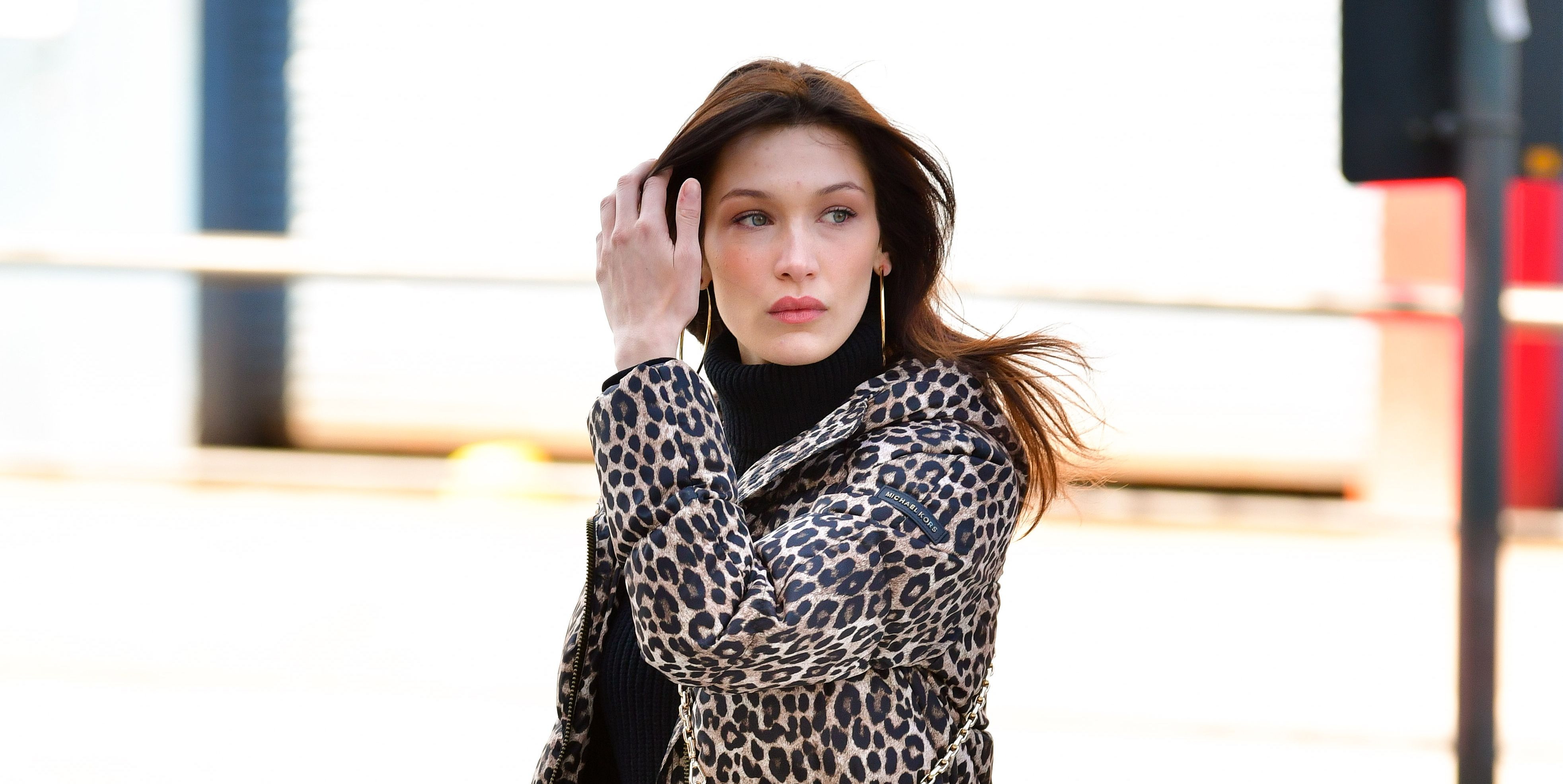 Bella Hadid leopard print jacket