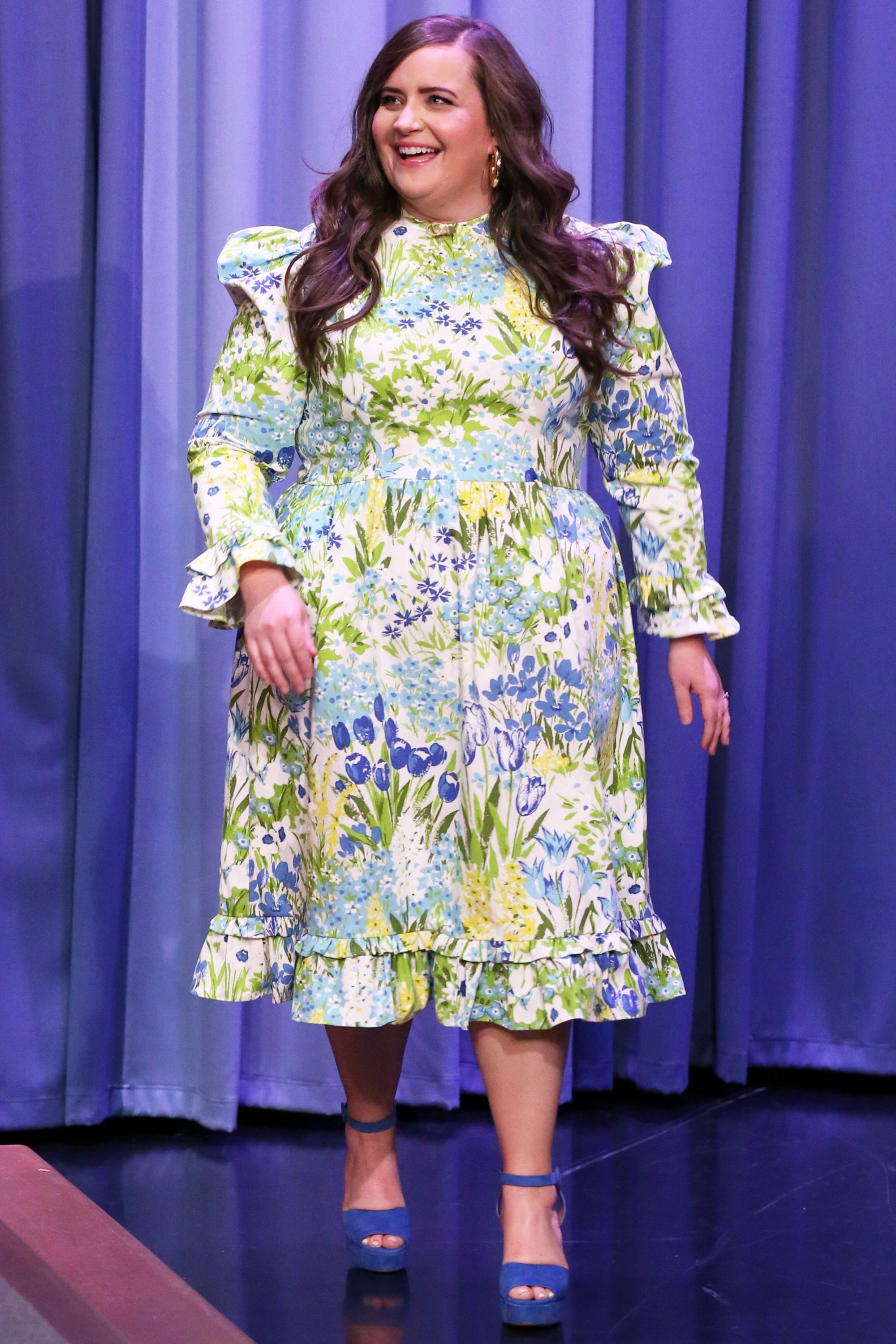 Who: Aidy Bryant When: March 19, 2019 Wearing: Batsheva dress, Jennifer Fisher earrings Why: We're all about floral dresses, and one of our favorite designers leading the prairie pack is Batsheva. The brand was worn by Shrill' s Aidy Bryant, which is a match made in heaven.