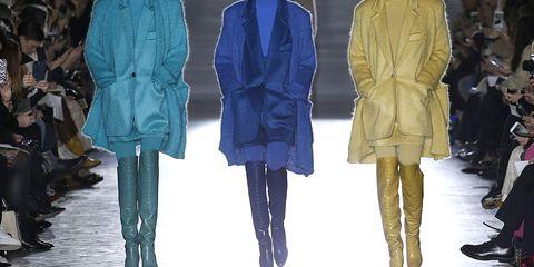 Fashion model, Fashion, Runway, Clothing, Fashion show, Fashion design, Outerwear, Human, Footwear, Coat,