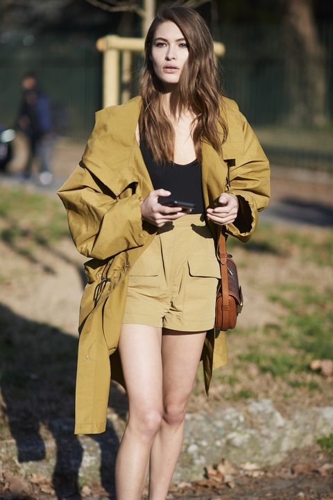 Brown, Sleeve, Khaki, Human leg, Bag, Joint, Outerwear, Street fashion, Style, Fashion accessory,