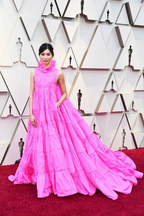 Dress, Gown, Clothing, Pink, Shoulder, Formal wear, Fashion model, Haute couture, Fashion, Carpet,