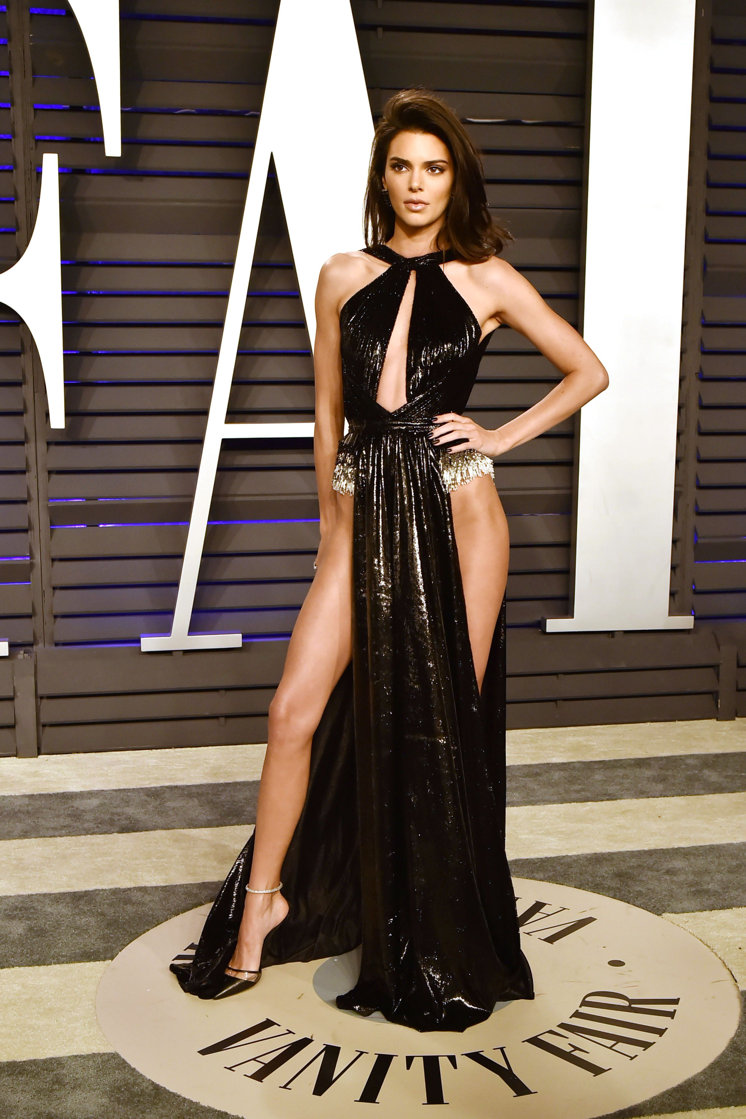 Kendall Jenner At Vanity Fair's Oscars after-party, the model made sure all eyes were on her in this Rami Kadi black dress .