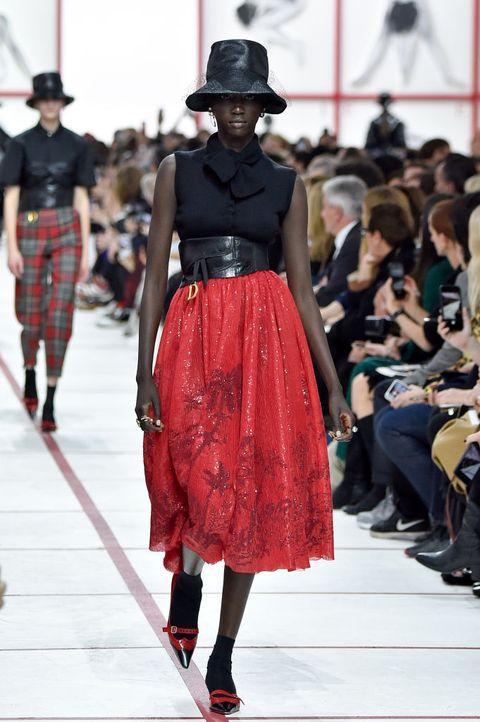Runway, Fashion, Fashion show, Fashion model, Clothing, Street fashion, Dress, Shoulder, Haute couture, Waist,
