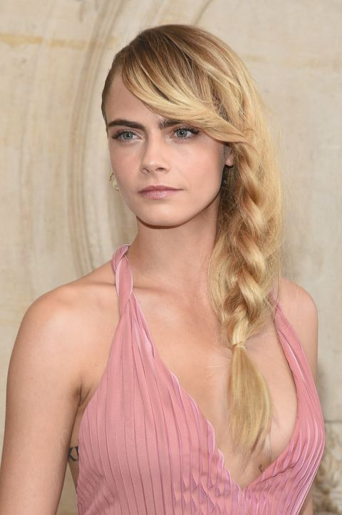 Cara Delevingne Blonde Long Plait Dior AW19