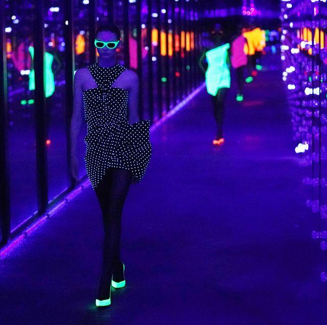 5bda823849597 Paris Fashion Week Saint Laurent Goes 80s Day Glo and All This Season