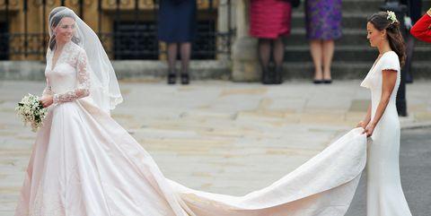 Gown, Wedding dress, Dress, Clothing, Bridal clothing, Bride, Shoulder, Pink, Bridal accessory, Fashion,