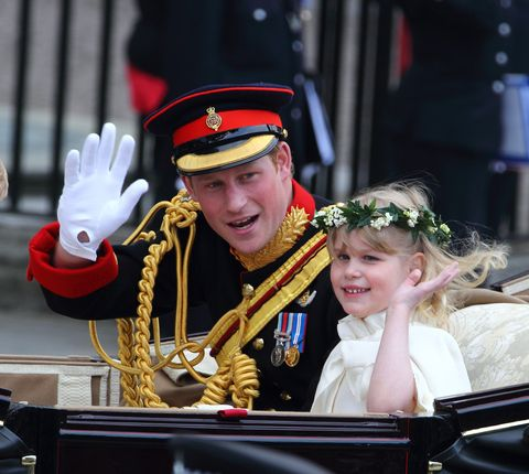 london, england   april 29  prince harry and bridesmaid lady louise windsor depart the royal wedding of prince william to catherine middleton at westminster abbey on april 29, 2011 in london, england the marriage of the second in line to the british throne was led by the archbishop of canterbury and was attended by 1900 guests, including foreign royal family members and heads of state thousands of well wishers from around the world have also flocked to london to witness the spectacle and pageantry of the royal wedding  photo by mike marslandwireimage