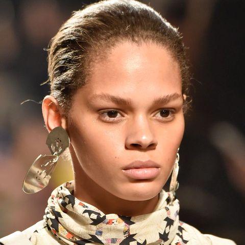 Hair, Fashion, Hairstyle, Eyebrow, Lip, Fashion model, Chin, Beauty, Neck, Runway,