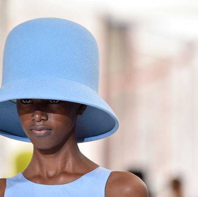 Blue, White, Clothing, Hat, Sun hat, Fashion accessory, Azure, Headgear, Fashion, Electric blue,