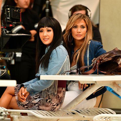 Fashion, Footwear, Fashion design, Brown hair, Textile, Long hair, Jeans, Shoe, Street fashion, Model,