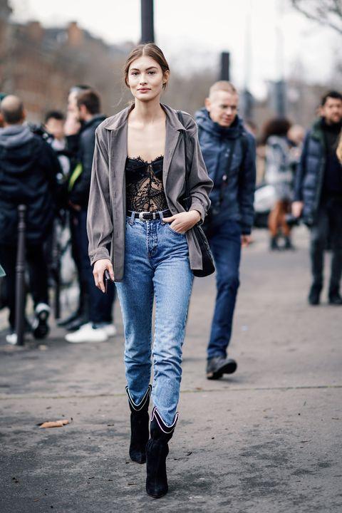 Jeans, Clothing, Street fashion, Fashion, Denim, Jacket, Fashion model, Outerwear, Textile, Footwear,
