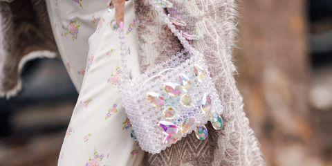 White, Fashion, Street fashion, Pink, Dress, Lace, Textile, Outerwear, Fur, Formal wear,