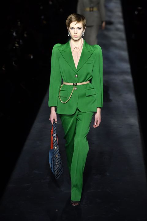 Runway, Fashion, Fashion model, Green, Clothing, Fashion show, Pantsuit, Suit, Outerwear, Haute couture,
