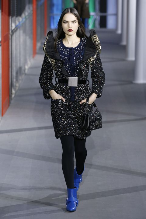 Fashion model, Fashion, Fashion show, Runway, Clothing, Street fashion, Haute couture, Electric blue, Footwear, Outerwear,